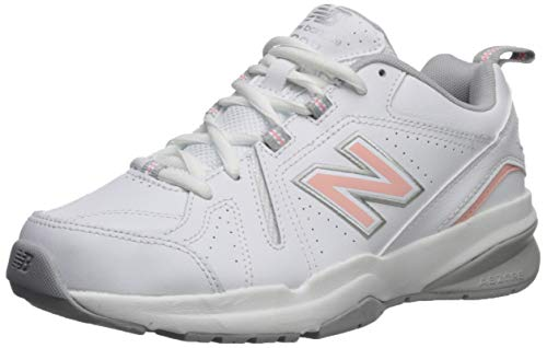 New Balance Women's 608 V5 Casual Comfort Cross Trainer, White/Pink, 11 W US