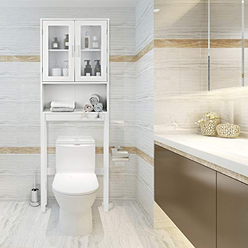 Giantex Over-The-Toilet Bathroom Storage Space Saver with Adjustable Shelf Collect Cabinet, White