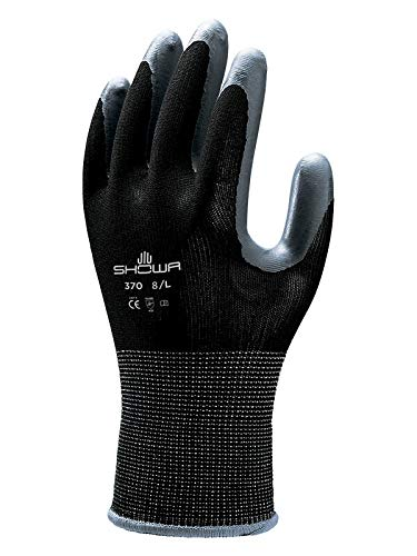 SHOWA 370BL-08 Atlas 370B Nitrile Palm Coating Glove, Black, Large (Pack of 12 Pairs)