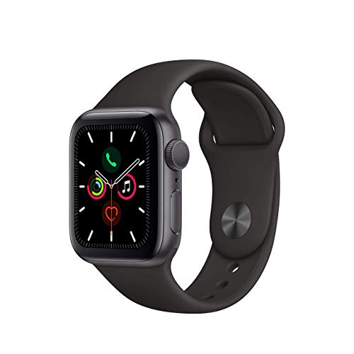 (Renewed) Apple Watch Series 5 (GPS, 44MM) - Space Gray Aluminum Case with Black Sport Band
