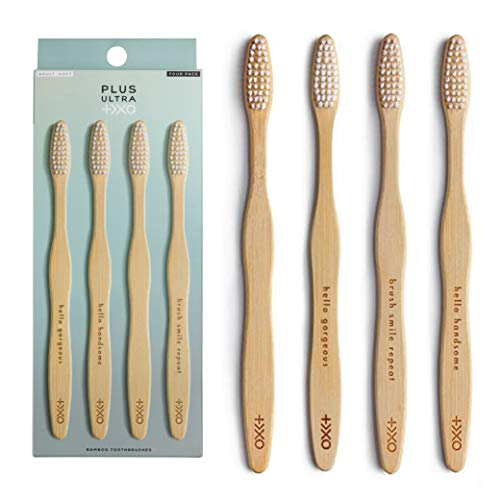 PLUS ULTRA Bamboo Toothbrush (4-Pack)   Biodegradable BPA Free Eco-Friendly Soft Bristle Toothbrush   Dentist-Approved All-Natural Toothbrush with Positive Affirmations on Handles