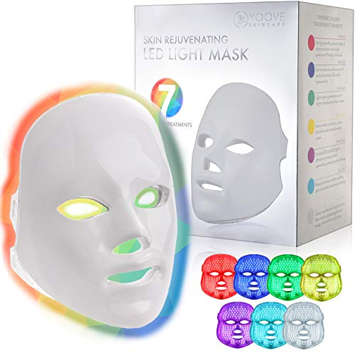 YOOVE LED Face Mask - 7 Colors Red Light Photon Therapy For Skin Rejuvenation and Anti Aging - Light Therapy Facial Care Mask for Boosting Collagen