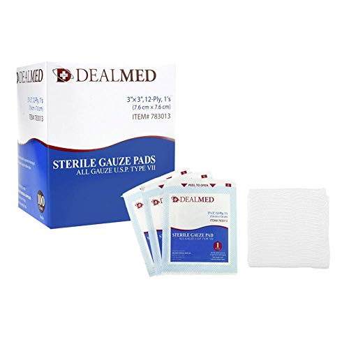 Dealmed 3'' x 3'' Sterile Gauze Pads, Individually Wrapped for Wound Dressing, Absorbent Gauze Sponge Pads for First Aid, Home Kits, and Wound Care, 100 Count (Pack of 1)