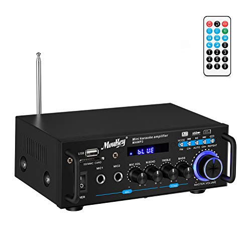 Moukey Bluetooth 5.0 Home Audio Power Stereo Amplifier for Speakers - Portable 2 Channel Stereo Desktop Amp Receiver with FM Radio, MP3/USB/SD Readers, 2 Mic Input, Remote (Peak Power 100W)