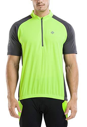 KORAMAN Men's Reflective Short Sleeve Cycling Jersey with Zipper Pocket Quick-Dry Breathable Biking Shirt Green XL