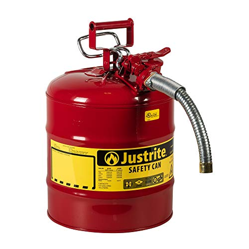 Justrite 7250130 Galvanized Steel, AccuFlow Type II Red Safety Can with 1' Flexible Spout, Large ID zone, Meets OSHA & NFPA For Handling Hazardous liquids. 5 Gallon (19L) Size.