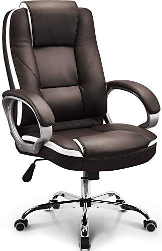 Neo Chair Office Chair Computer Desk Chair Gaming - Ergonomic High Back Cushion Lumbar Support with Wheels Comfortable Brown Leather Racing Seat Adjustable Swivel Rolling Home Executive