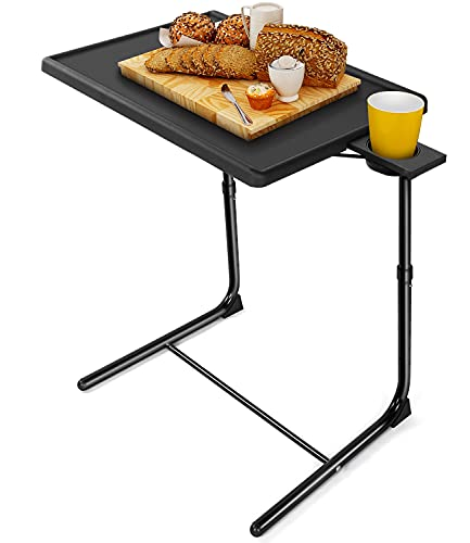 LORYERGO TV Tray - TV Table, Adjustable Tray for Eating, Folding Table Trays, w/6 Height & 3 Tilt Angle, w/Cup Holder, Dinner Tray for Eating on Couch, Laptop Tray for Bed & Couch