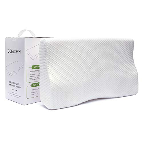 OCESOPH Memory Foam Pillow,Pillows for Sleeping,Cervical Pillow Relief Neck Pain,Orthopedic Contour Sleep Pillows,Bamboo Bed Pillow,Support Pillow,Stomach Pillow,Side Sleeper Pillow,White