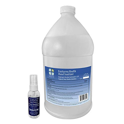 Fairhaven Health Hand Sanitizer - One (1) Gallon - Made to WHO Formula from Isopropyl Alcohol 75% Solution (Not Smelly Ethanol), Includes Refillable Spray Bottle