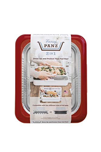 Fancy Panz 2-in-1 Dress Up & Protect Your Foil Pan, Made in USA, Fits 2 size of foil pans. Foil Pan & Serving Spoon Included. Hot or Cold Food. Stackable for easy travel. BPA free (Red)