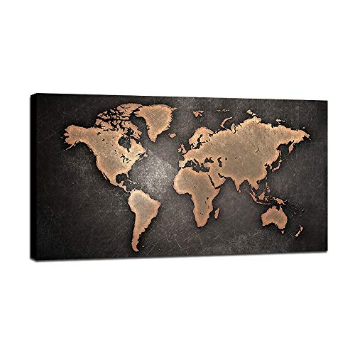 BIL-YOPIN Canvas Wall Art Black World Map 24x48inch Wall Art Decor Painting Pictures Print On Canvas Long Canvas Artwork Prints for Home Living Room Bedroom Decoration Office Framed Ready to Hang