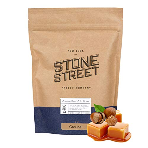 Stone Street Coffee Cold Brew Flavored Ground, Natural Caramel Nut Flavor, Coarse Grind, 1 LB Bag