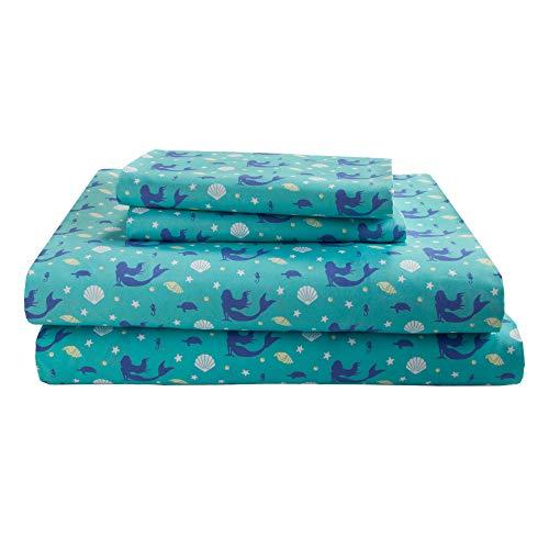 HowPlum Mermaid Full Sheet Set Microfiber Coastal Ocean Bedding Teal Blue