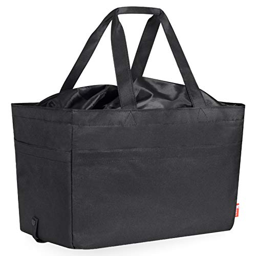 SummerValley Large Reusable Grocery Bags, Washable & Foldable Soft Utility Tote Bag, Premium Quality Heavy Duty Shopping Bags with Reinforced Bottom, Upgraded Drawstring Closure (30L-Black)