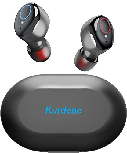 Kurdene Wireless Earbuds,Bluetooth Earbuds with Charging Case Immersive Sounds IPX8 Waterproof Sport Mini Earphones Touch Control 24H Playtime Mic for iPhone/Samsung/Windows/Android-Black