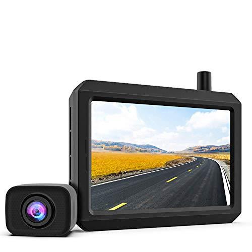 720P HD Wireless Backup Camera, Support 2 Cameras with Digital Wireless Signal, Waterproof Rear View Camera, 5″ TFT-LCD HD Monitor Ideal for SUV/Van/Trucks/Mini RV/Pickup (K7 Pro)