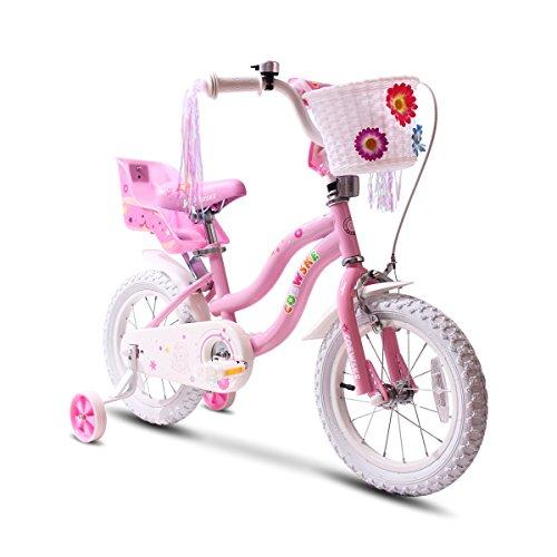 COEWSKE Kid's Bike Steel Frame Children Bicycle Little Princess Style 14 Inch with Training Wheel (14' Pink)