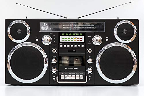 GPO Brooklyn 1980S-Style Portable Boombox - CD Player, Cassette Player, FM & DAB+ Radio, USB, Wireless Bluetooth Speaker - Black