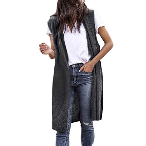 JOFOW Women's Cardigans,Solid Sleeveless Jacket Loose Cool Chic Kimono Lightweight Outwear Long Thin Coats Jackets for Women (S,Gray)