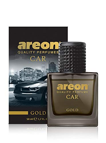 AREON Car Perfume Gold - Air Freshener in Glass Bottle - Luxury Odor Eliminator Spray with Absorber Hanging Pad - Unique Fragrance & Long-Lasting Aroma for Vehicle, Office, Home - Made in Europe, 50ml