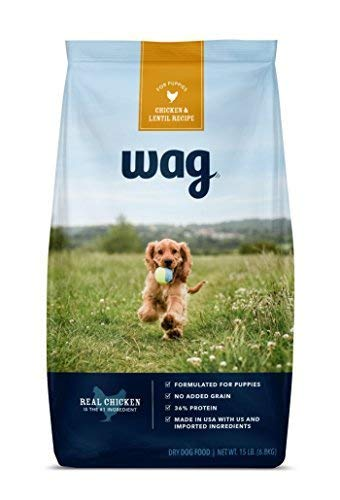 Amazon Brand - Wag Dry Dog Food for Puppies, Chicken & Lentil Recipe (15 lb. Bag)