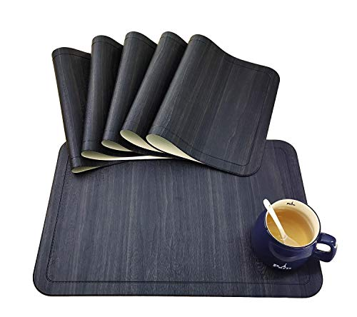Tennove Placemats Set of 6, Washable Placemats PU Leather Stain Resistant Table Mats for Kitchen Dining Table (PU-Black)