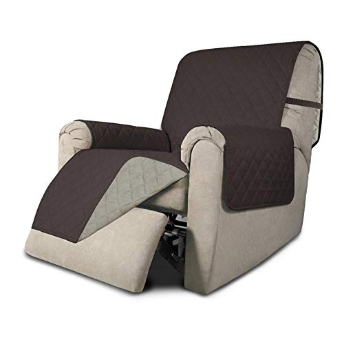 Easy-Going Recliner Sofa Slipcover Reversible Sofa Cover Furniture Protector Couch Shield Water Resistant Elastic Straps Pets Kids Children Dog Cat (Recliner, Chocolate/Beige)