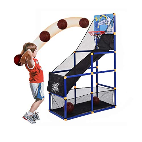 Fine Arcade Game Stand   Basketball, Soccer, Kids Toys, Fun Outdoor and Indoor Ball Games for Boys, Girls, Toddler   Includes 3 Balls, Backboard Hoop, Net Goal, Stick, and Air Pump (As Show)