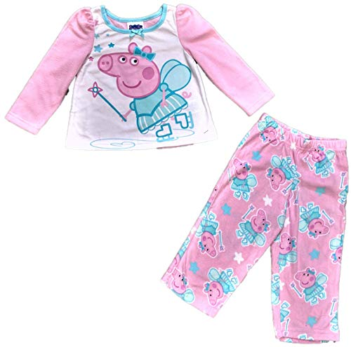 Peppa Pig Dancing Ballerina top with Rainbows and Peppa Pig on Pink Pajama Bottoms 2 Piece Set
