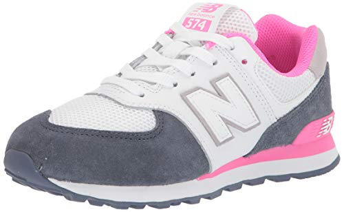 New Balance baby girls 574 V1 Leather Sneaker, Vintage Indigo/Pink, 8.5 Toddler US
