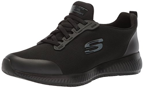 Skechers for Work Women's Squad SR Food Service Shoe, black flat knit, 9.5 M US