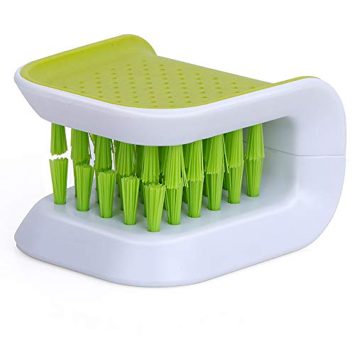 Nurkeen Knife Sponge, Scrub Knife Cleaning Brush, Durable Silverware Washer, Blade Brush Knife Cleaning and Cutlery Cleaning, Chopsticks and Fork Cleaning Brush, Kitchen Scrub Brush Non-Slip, Green