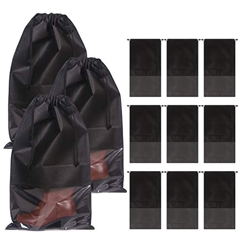 DIOMMELL 12 Pack Tall Boot Bags for Travel Non-Woven with Rope for Women Large Shoe Protector Cover Storage Organizers Pouch