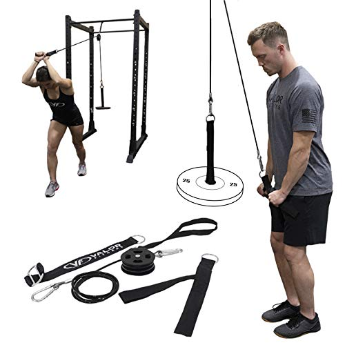 Valor Fitness PY-1 Portable LAT Pull Down Machine, Bundle Option Includes Tricep Rope, V Tricep Bar and Triangle Chest Pull Cable Machine Attachments