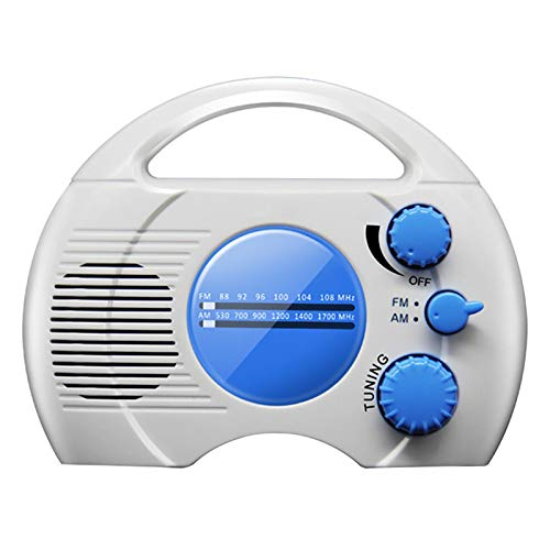 aner Waterproof Shower Radio, Mini Portable AM FM Shower Radio Built in Speaker Audio High Definition for Bathroom Kitchen, Outdoor Use