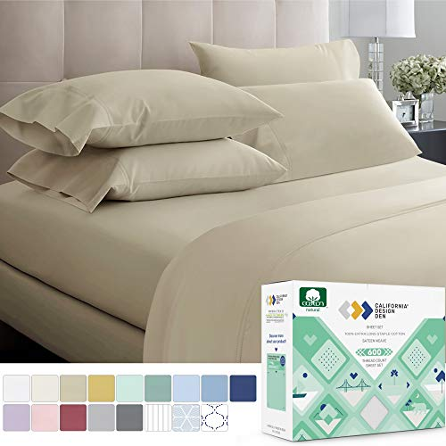 600 Thread Count Best 100% Cotton Sheets – Taupe Extra Long-staple Cotton Queen Sheet For Bed, Fits Mattress 16'' Deep Pocket, Breathable & Silky Sateen Weave 4 Piece Sheets and Pillowcases Set