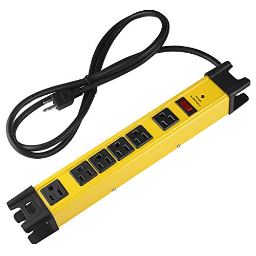 Heavy Duty Power Strip Surge Protector, 6 Outlet Industrial Power Strip with 15A, Shop Workshop Garden Metal Power Strip with 6FT Cord 1200 Joules ETL Listed.