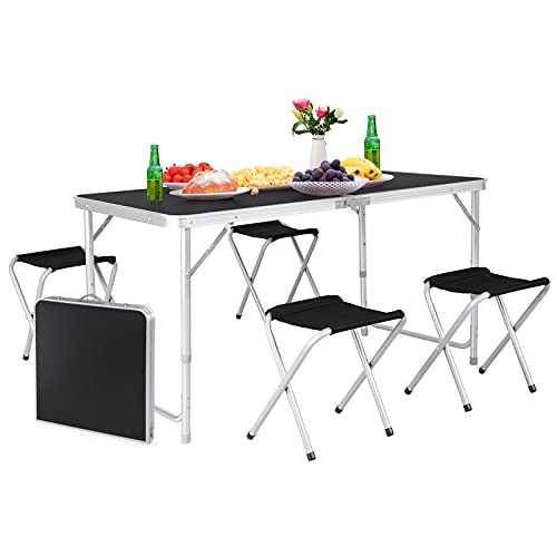 GARTIO 4FT Aluminum Folding Table, Fold-in-Half, Height Adjustable Portable Lightweight Camping Beach Dining Utility Desk, with Handles and 4 Chairs, for Indoor Outdoor Garden Picnic Party, Black