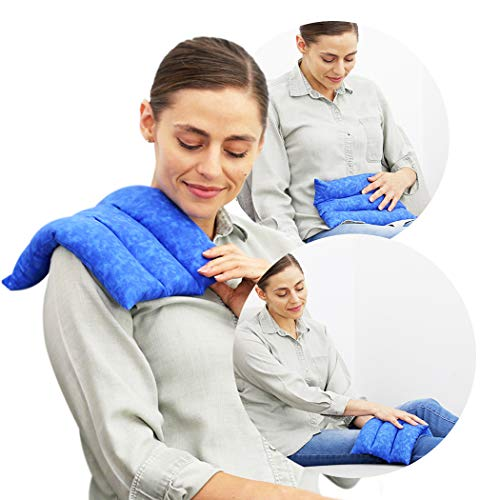 Nature Creation Microwave Heating Pad for Lumbar and Lower Back Pain Relief - Easy To Use & Family Favorite Herbal Hot and Cold Therapy Pack - For Soothing Relaxation, Warmth and Comfort - Blue Marble