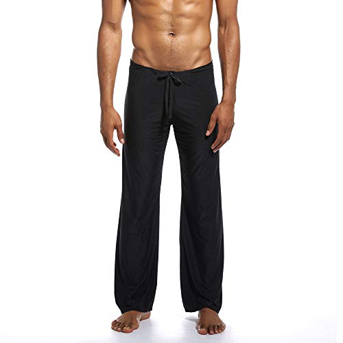 iTLOTL Men's Pure Home Pants Yoga Pants Tie-up Comfortable Trousers Black