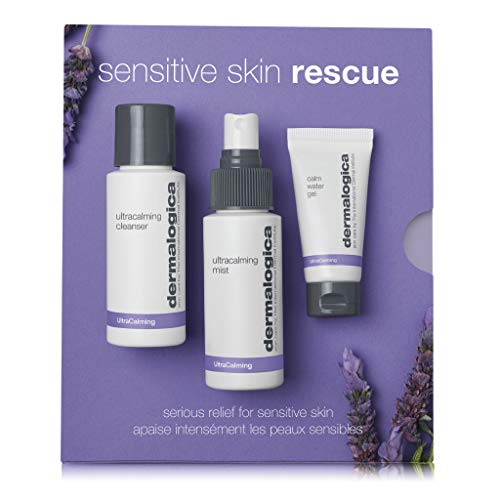 Dermalogica Sensitive Skin Rescue Kit - Set Contains: Face Wash, Toner, and Face Moisturizer - Skin Care To Calm, Soothe and Minimize Irritation