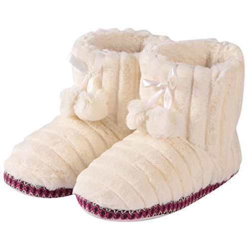 Forfoot Fuzzy Slippers Womens House Slippers Home Slippers Anti-Skid Indoor Slipper Boots Fluffy Bootie Slippers (Small US 5-6,White)