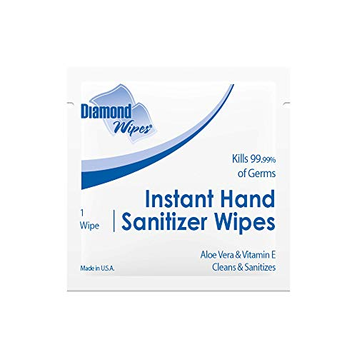 "Diamond Wipes Instant Hand Sanitizer Alcohol Wipes 65% Ethyl Alcohol Bulk Pack 1000ct 5.5x5"" Individually Wrapped Packets Made with Vitamin E and Aloe Vera Perfect For Travel And On The Go Activities"