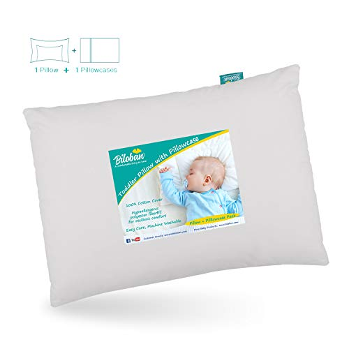 Baby First Toddler Pillow with Pillowcase for Boys and Girls (13'x 18'), Hypoallergenic Toddler 's Flat Pillows for Sleeping, Oeko-TEX Standard 100 Certificated Travel Pillow Fits Crib, Gray