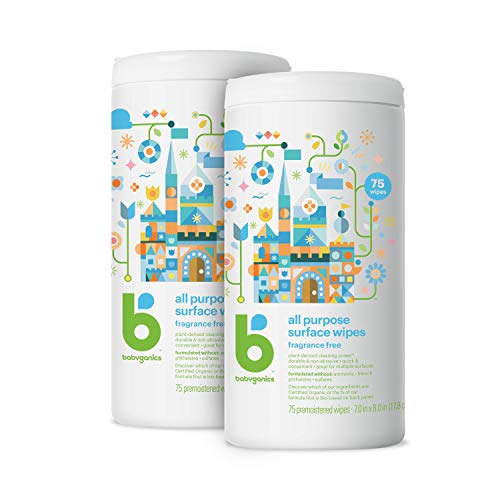 Babyganics All Purpose Surface Wipes, Fragrance Free, 150 Count (75 Count, 2 Pack), Plant Based and Non-Abrasive, No Ammonia, No Bleach