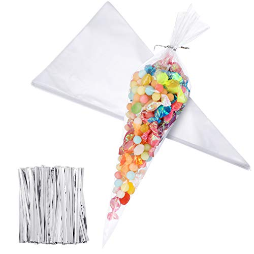Outus 100 Piece Medium Transparent Cone Bags Clear Cello Bags Sweets Treat Bags with 100 Piece Twist Ties, 11.8 by 6.3 Inch (Silver Twist Ties)