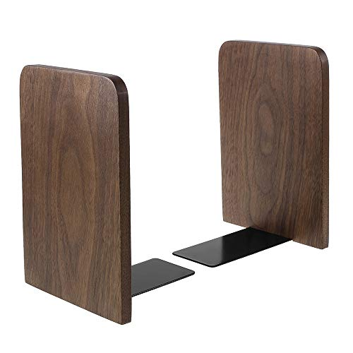 Wood Bookends, Book Ends for Shelves, Metal Base Non-Skid Wood Bookends for Heavy Books Office Desk DVD, Magazine Black 6.69 X 4.7 X 4.1inch, 1Pair/2 Pieces (Big Size)