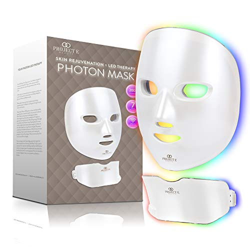 Project E Beauty Photon Skin Rejuvenation Face & Neck Mask   Wireless LED Photon Red Blue Green Therapy 7 Color Light Treatment Anti Aging Spot Removal Wrinkles Whitening Facial Skin Care Mask
