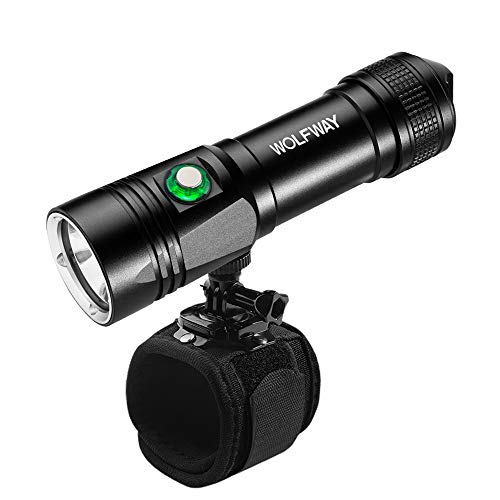 WOLFWAY Dive Light, Diving Lights Underwater Wrist Flashlight Holder for Scuba Diving, XML-L2 LED Hight Bright, 1000 Lumens Underwater 100M, 5 Modes with Rechargeable 18650 Battery Dive Torch